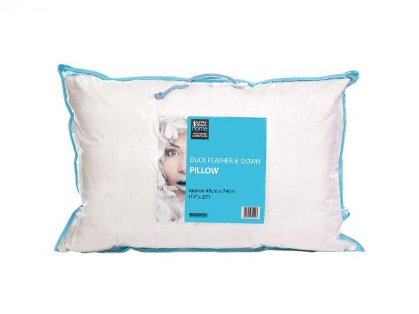 Duck feather and down pillow in pack