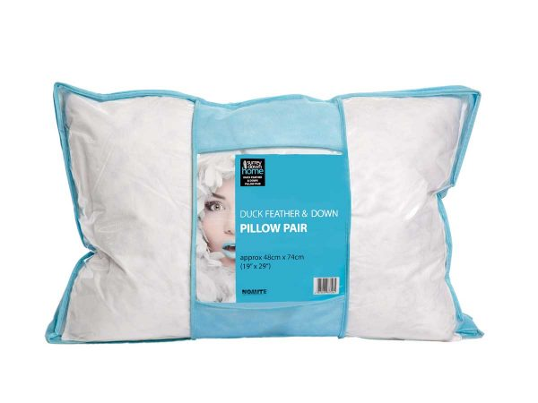 Duck feather and down pillows in pack