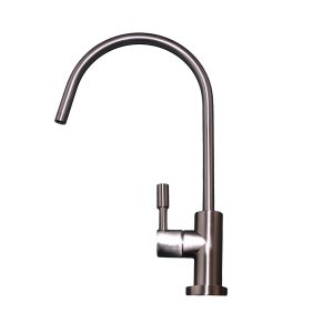Brushed Nickel Long Cylinder Swan Neck Tap