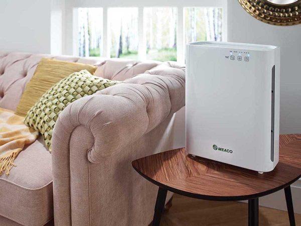 MeacoClean CA-HEPA 47x5 Air Purifier by sofa