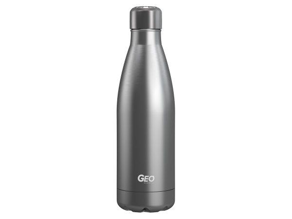 geo stainless steel water bottle grey